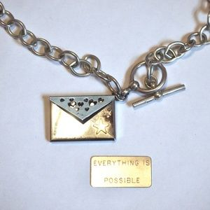 """""""Everything Is Possible"""" Silver Tone Link Necklace"""